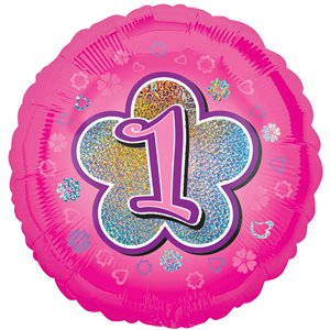 1st Birthday Pink Flowers Balloon - 18