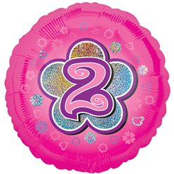 "Age 2 Pink Flowers Balloon - 18"" Foil"