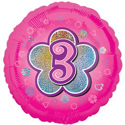 "Age 3 Pink Flowers Balloon - 18"" Foil"