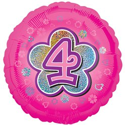 "Age 4 Pink Flowers Balloon - 18"" Foil"