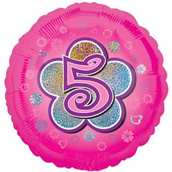 "Age 5 Pink Flowers Balloon - 18"" Foil"