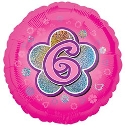 "Age 6 Pink Flowers Balloon - 18"" Foil"