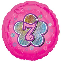 "Age 7 Pink Flowers Balloon - 18"" Foil"