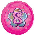"Age 8 Pink Flowers Balloon - 18"" Foil"