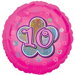 "Age 10 Pink Flowers Balloon - 18"" Foil"
