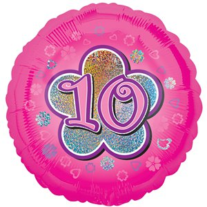 Age 10 Pink Flowers Balloon - 18