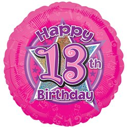 "13th Birthday Pink Stars Balloon - 18"" Foil"