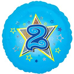 "Age 2 Blue Stars Balloon - 18"" Foil"