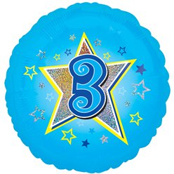 "Age 3 Blue Stars Balloon - 18"" Foil"