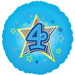 "Age 4 Blue Stars Balloon - 18"" Foil"