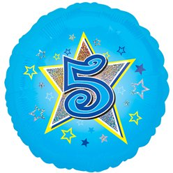 "Age 5 Blue Stars Balloon - 18"" Foil"