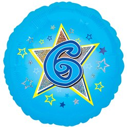 "Age 6 Blue Stars Balloon - 18"" Foil"