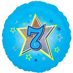 "Age 7 Blue Stars Balloon - 18"" Foil"