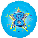 "Age 8 Blue Stars Balloon - 18"" Foil"