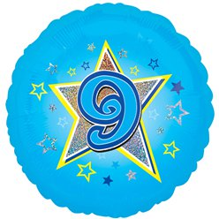 "Age 9 Blue Stars Balloon - 18"" Foil"