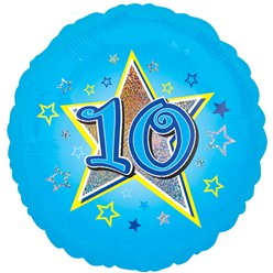 "Age 10 Blue Stars Balloon - 18"" Foil"