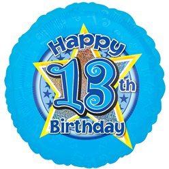 "13th Birthday Blue Stars Balloon - 18"" Foil"