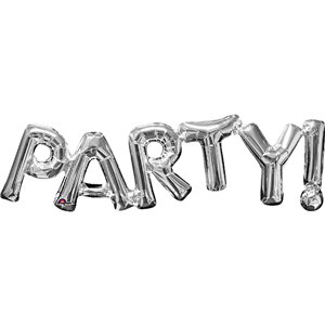 Party Silver Foil Phrase Balloon