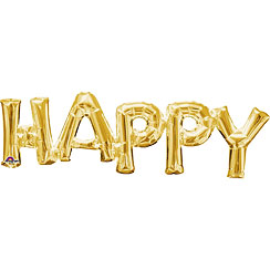 Happy Gold Foil Phrase Balloon