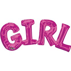 Girl Pink Foil Phrase Balloon
