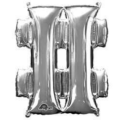 "Silver Letter Hashtag Balloon - 16"" Foil"
