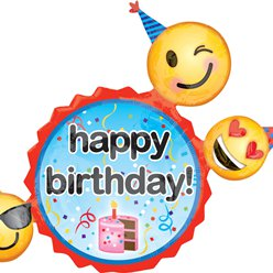 "Happy Birthday Emoji Supershape Balloon - 24"" Foil"