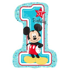Mickey Mouse 1st Birthday SuperShape Balloon - Foil 28""