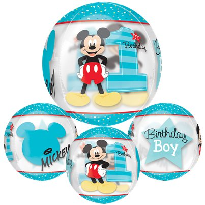 "Mickey Mouse 1st Birthday Orbz Balloon - 16"" Foil"