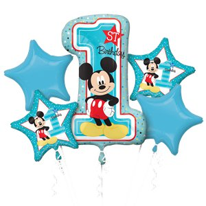 Mickey Mouse 1st Birthday Balloon Bouquet - Assorted Foil