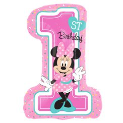 Minnie Mouse 1st Birthday SuperShape Balloon - Foil 28""