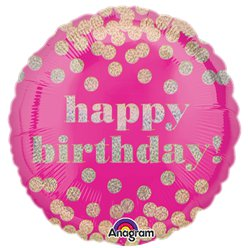 "Happy Birthday Pink Dotty Holographic Balloon - 18"" Foil"