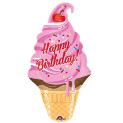 "Ice Cream Cone Happy Birthday Balloon - 32"" Foil"