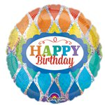 "Rainbow Holographic Happy Birthday Balloon - 18"" Foil"