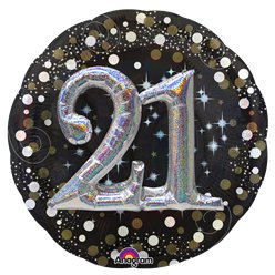 "21st Birthday Sparkling Celebration 3D Balloon - 32"" Foil"