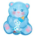 "Blue Baby Boy Bear Balloon - 18"" Foil"