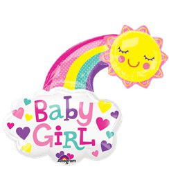 "Baby Girl Rainbow Supershape Balloon - 30"" Foil"