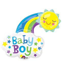 "Baby Boy Rainbow Supershape Balloon - 30"" Foil"