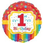 "Rainbow 1st Birthday Balloon - 18"" Foil"