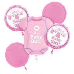 Shower With Love Girl Balloon Bouquet - Assorted Foil