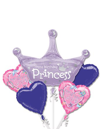 Princess Birthday Balloon Bouquet - Assorted Foil