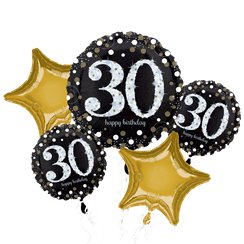 30th Birthday Sparkling Celebration Balloon Bouquet - Assorted Foil 28""