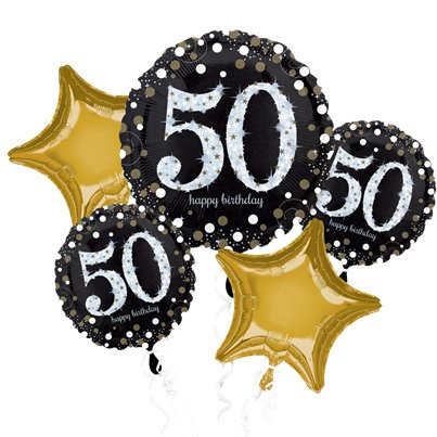 50th Birthday Sparkling Celebration Balloon Bouquet - Assorted Foil 28