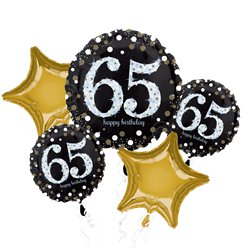 65th Birthday Sparkling Celebration Balloon Bouquet - Assorted Foil 28""
