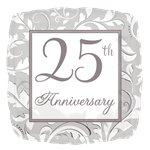 25th Silver Wedding Anniversary Balloon - 18