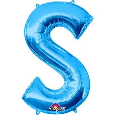 "Blue Letter S Balloon - 34"" Foil"