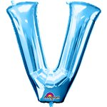 "Blue Letter V Balloon - 34"" Foil"