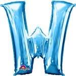 "Blue Letter W Balloon - 34"" Foil"