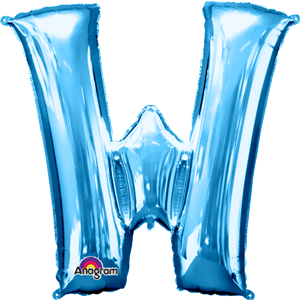 Blue Letter W Balloon - 34