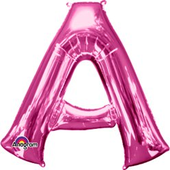 "Pink Letter A Balloon - 34"" Foil"
