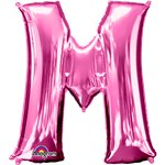 "Pink Letter M Balloon - 34"" Foil"
